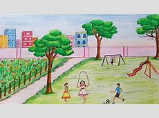 How to draw scenery of Children's play step by step YouTube