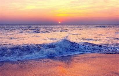 Sunset Beach Summer Sea Pink Sand Purple