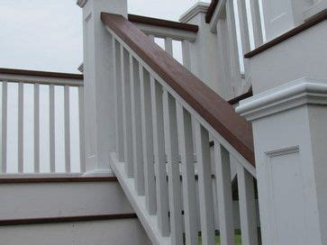 stained painted simple stair railing stained finish