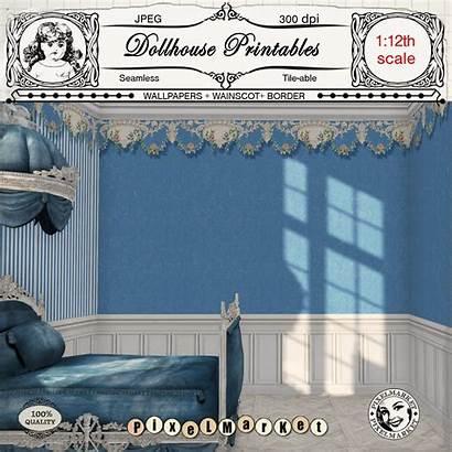 Dollhouse Printable Wallpapers Wainscot Miniature Border Diorama