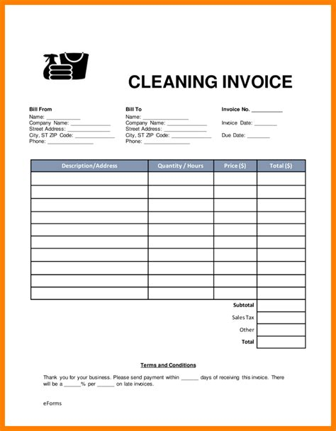 cleaning template 6 cleaning invoice template 3canc