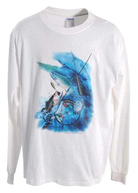 bass  trout long sleeved white  shirt