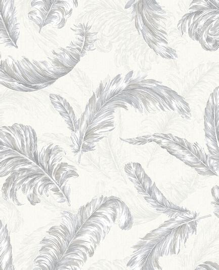gilded feather white  silver wallpaper graham brown