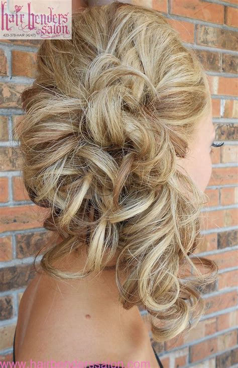 curls pinned to side side ponytail wedding hairstyles