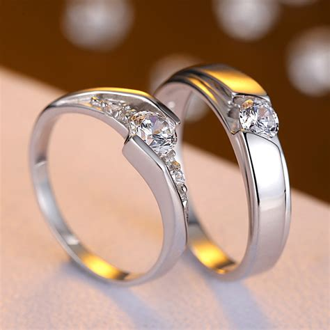 cubic zirconia diamond eternity promise rings  couples