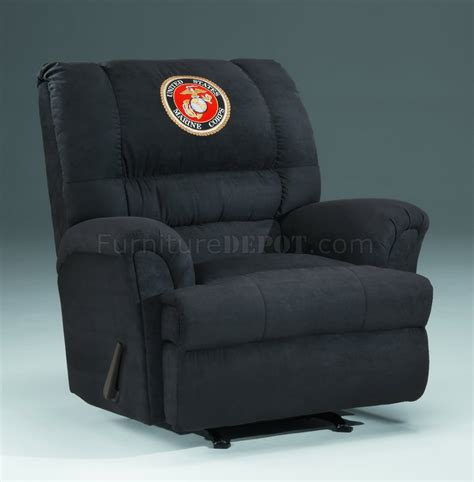 black fabric modern rocker recliner wus marines emblem