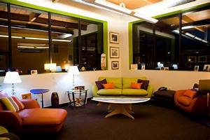 Office, Casual, Office, Design, With, Comfy, Green, Leather, Sofa, And, White, Ceiling, Lighting, And, Also
