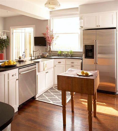 small white kitchen island small space kitchen island ideas bhg better homes 5569