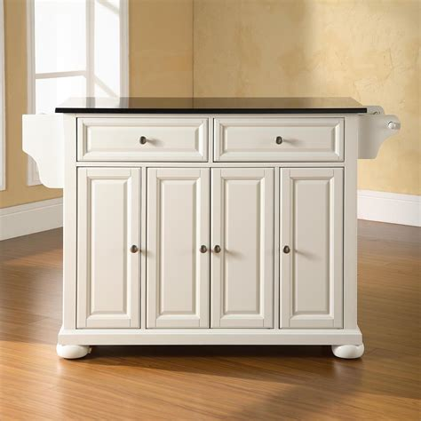 alexandria solid black granite top kitchen island white dcg stores