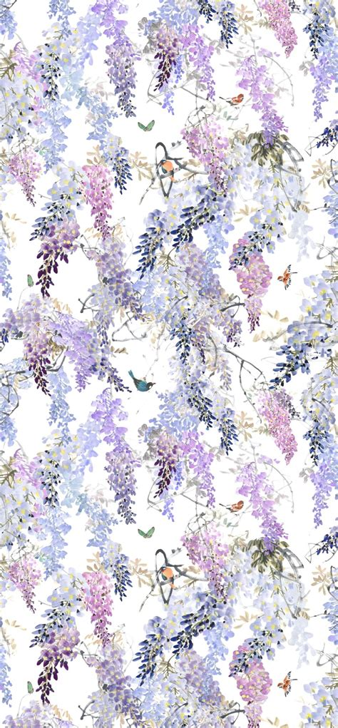 wisteria falls panel   sanderson lilac wallpaper direct