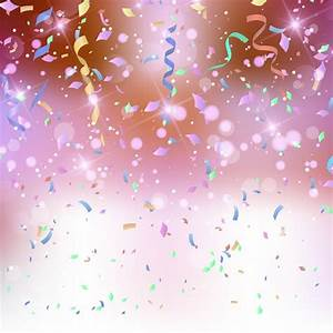 Coloured background with confetti and streamers Vector ...