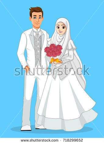 newly married couple silhouettes  vector
