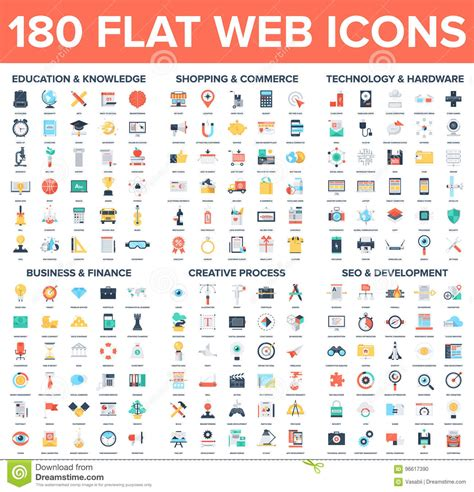 Seo Knowledge by Flat Web Icons Stock Vector Illustration Of Community