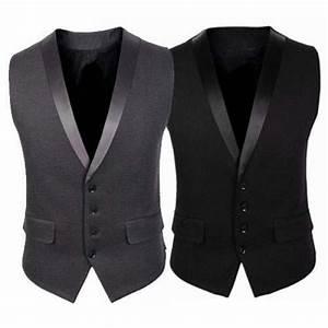 Gilet Sans Manche Homme Costume : gilet veston costume homme elegant ceremonie noir gris ~ Farleysfitness.com Idées de Décoration
