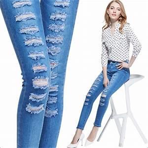 2015 Womenu0026#39;s Ripped Jeans Fashion Boyfriend Jeans For Women Loose Holes Denim Pants High Waist ...