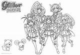 Glitter Force Coloring Pages Precure Characters Printable Adults sketch template