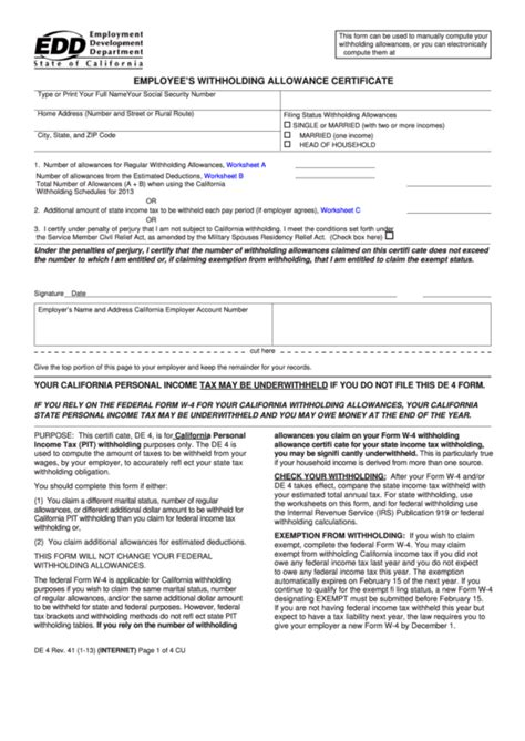 employee s withholding allowance certificate printable pdf