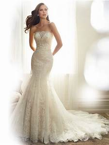 fitted mermaid strapless tulle lace applique beaded With strapless beaded mermaid wedding dress