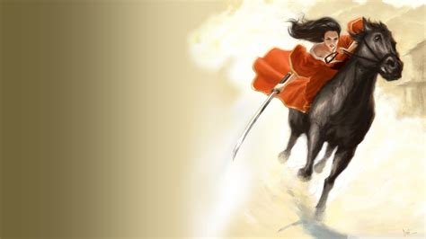 fighter samurai fantasy art horses girls  horses