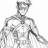 Coloring Robin Batman Nightwing Drawing Sketch Drake Tim Cartoon Superhero Sketches Artwork Bird Comic Adult Neocoloringpages sketch template