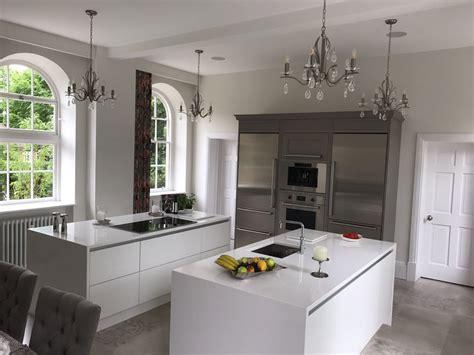 double kitchen island  matt white fitted  aston