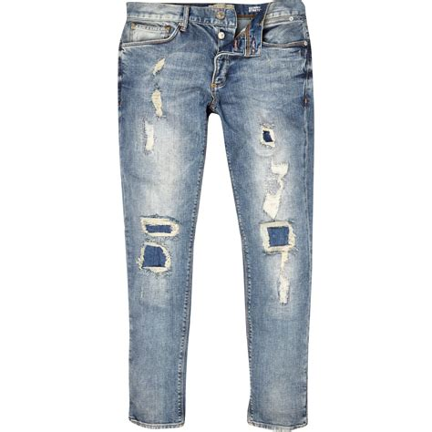 light wash skinny jeans mens river island light wash ripped sid skinny stretch jeans in