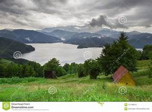 Lake, And, Mountain, Landscape, With, Rain, Clouds, After, The, Storm, Stock, Photo