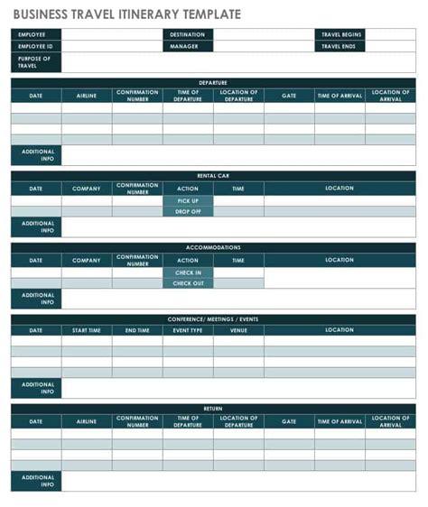 itinerary templates smartsheet