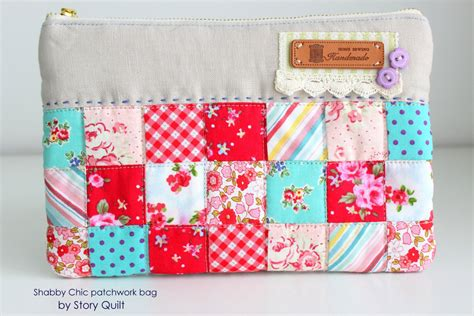 shabby fabrics zippered pouch embroidery quilted bag mobile bag zip pouches make up
