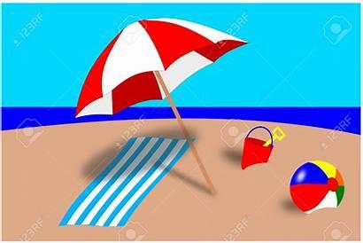Beach Scene Clipart Umbrella Clip Illustration Tropical