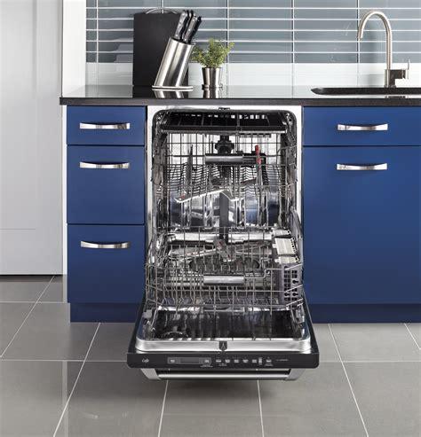 ge cafe series stainless interior built  dishwasher  hidden controls cdtssfss ge
