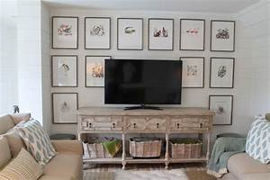 Wall decor behind a tv furniture and