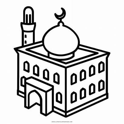 Mosque Coloring Clipart Islamiat Masjid Transparent Barry