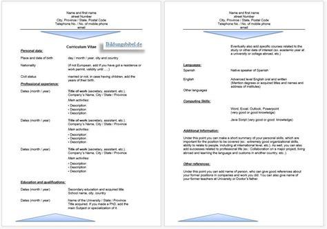 Lebenslauf Vorlage Englisch by Cv Vorlage Word Lebenslauf Beispiel