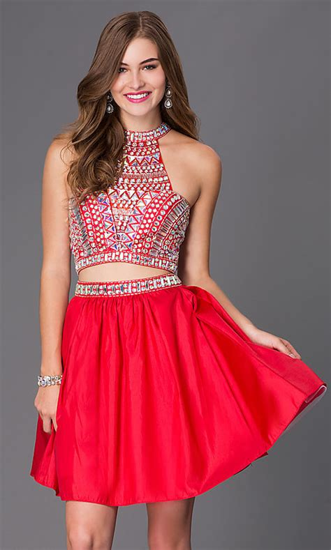 Short Two-Piece Jeweled Party Dress - PromGirl