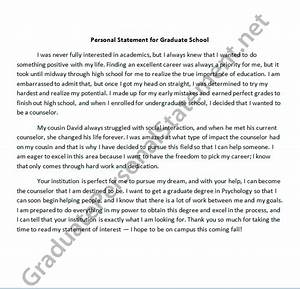 example of personal statement for graduate school application online