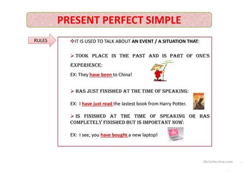 Present Perfect Simple Worksheet  Free Esl Projectable Worksheets Made By Teachers