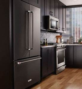 what39s the best appliance finish for your kitchen black With kitchen colors with white cabinets with samsung sticker