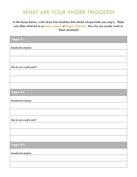 anger management therapy handouts and worksheets