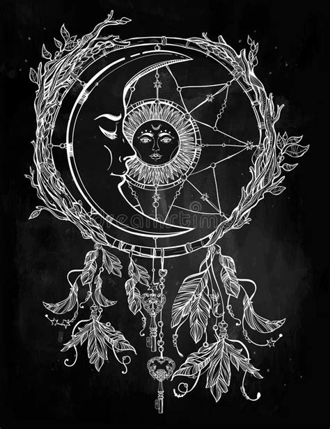 Dream Catcher Adorned With Sun And Moon Inside. Stock Illustration - Image: 60788945