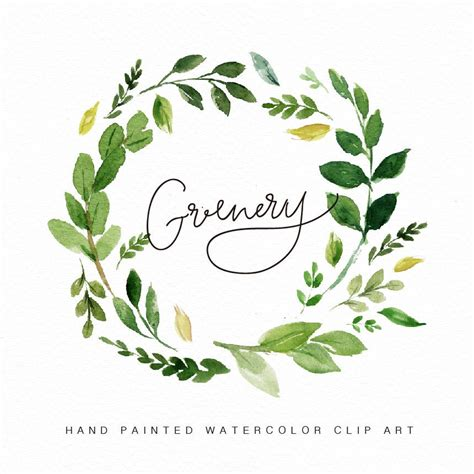 watercolor flower wreath clipart greenery painted wedding