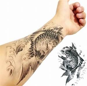 Black Ink Koi Fish Tattoo On Left Forearm