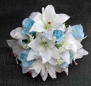artificial light blue and white wedding bouquet | iPunya