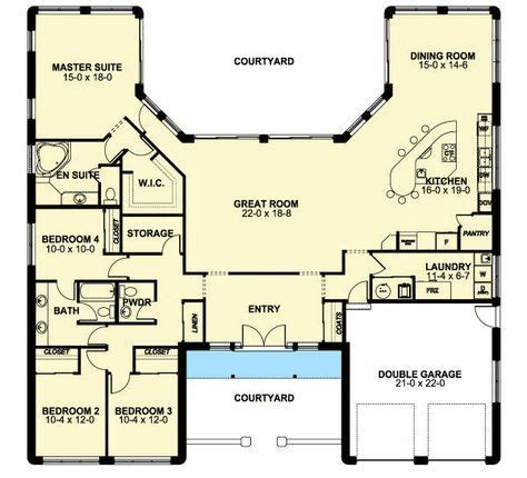 plan mg adobe style house plan  icf walls   house plans  story courtyard