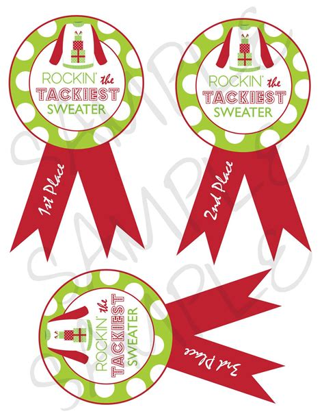 christmas party award ideas tacky sweater award ribbons custom printable digital file 5x7 5 00 via etsy