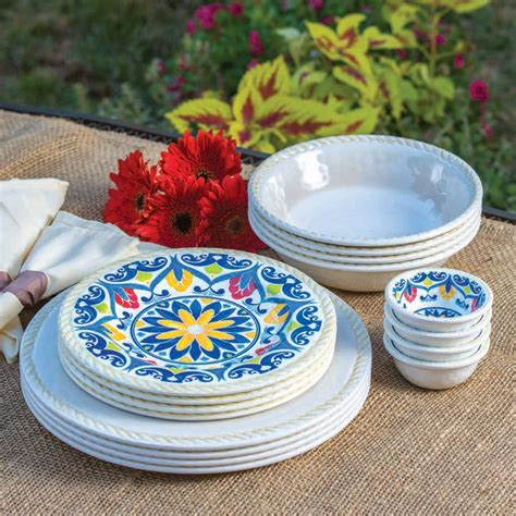 melamine cuisine 16 indoor outdoor melamine dinnerware set ivory