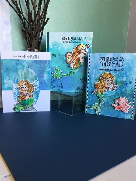 simon  stamp mermaid card kit cards  melodie