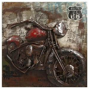 motorcycle dimensional metal art eclectic home decor With kitchen cabinets lowes with route 66 metal wall art