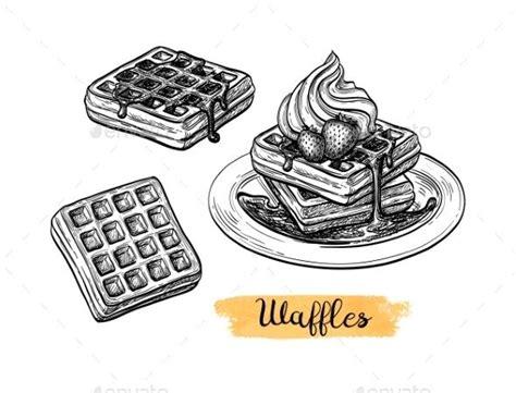 ink sketch  waffle   ink sketch food sketch