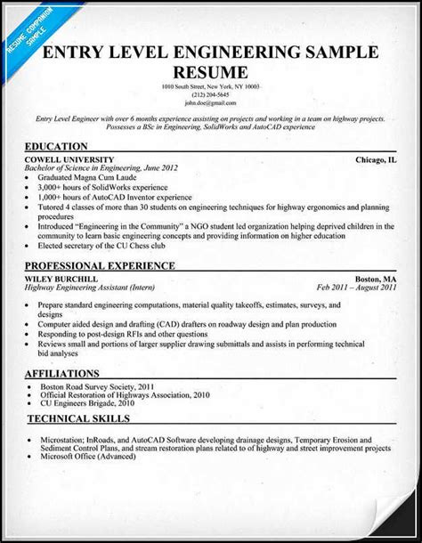 entry level engineering resume   written excellently
